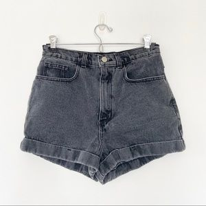 American Apparel High-Waist Cuf Black Jeans Shorts